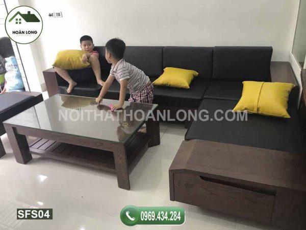 Bộ ghế sofa ngăn kéo vát gỗ sồi Nga SFS04
