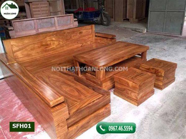 Bộ ghế sofa góc chữ L gỗ hương xám SFH01