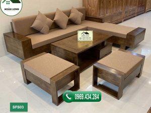 sofa 2 tay gỗ sồi Nga đẹp SFS03