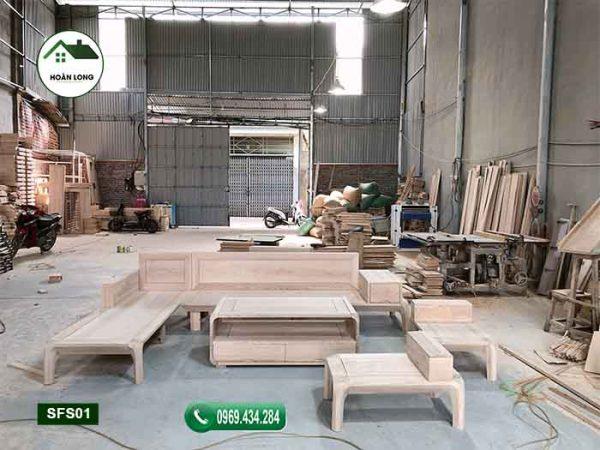 Bộ ghế sofa chân cong gỗ sồi Nga SFS01