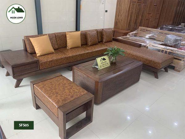 sofa chân oải gỗ sồi Nga SFS05