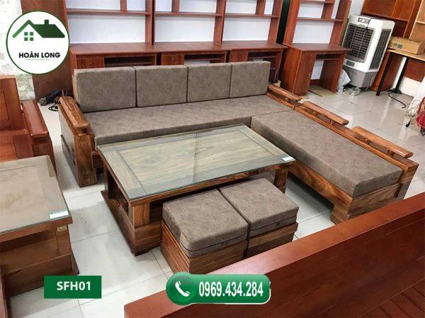 Bộ ghế sofa góc chữ L tay trứng gỗ hương xám SFH01