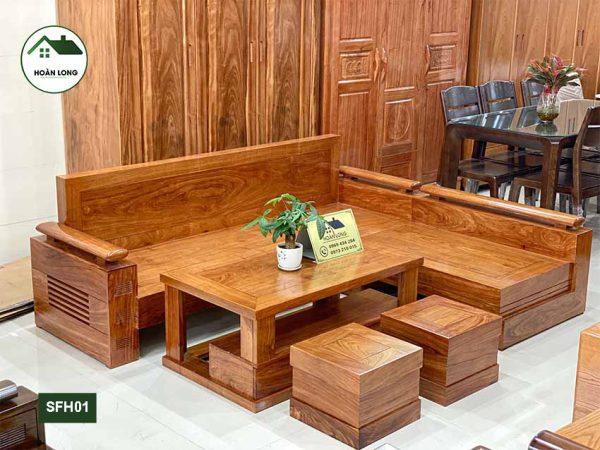 Bộ ghế sofa góc chữ L tay trứng gỗ hương xám vàng SFH01