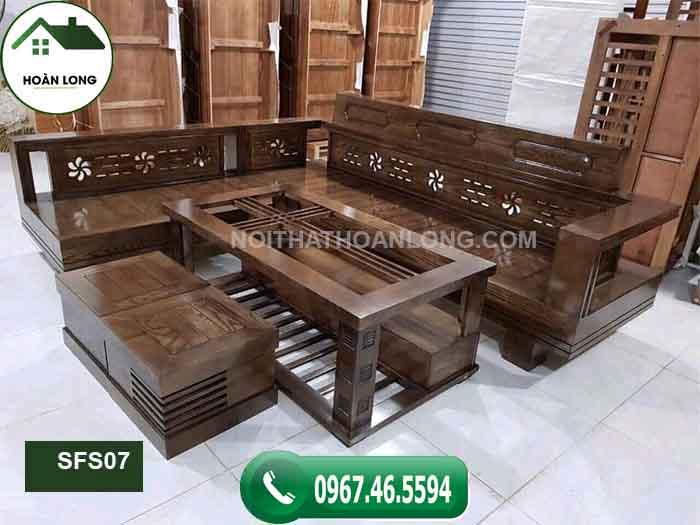 Bộ ghế sofa góc hoa gỗ sồi Nga SFS07