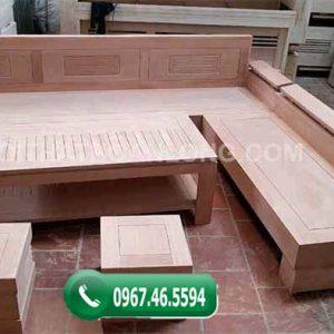 Bộ ghế sofa tay nghiêng gỗ xoan đào SFX02