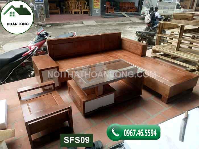 Bộ ghế sofa hộp 2 ngăn kéo gỗ sồi Nga SFS09