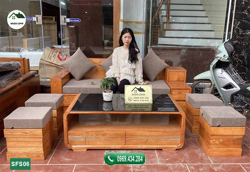 Bộ ghế sofa 3 ngăn kéo gỗ sồi Nga SFS06