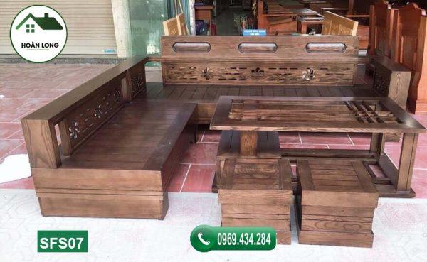 sofa góc hoa gỗ sồi Nga SFS07 màu óc chó