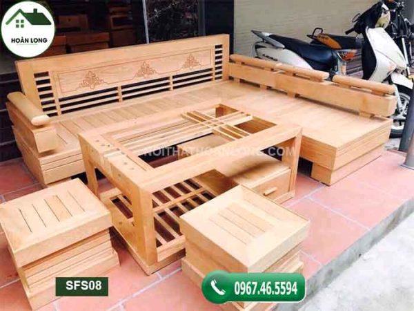 Bộ sofa góc vương miện gỗ sồi Nga SFS08