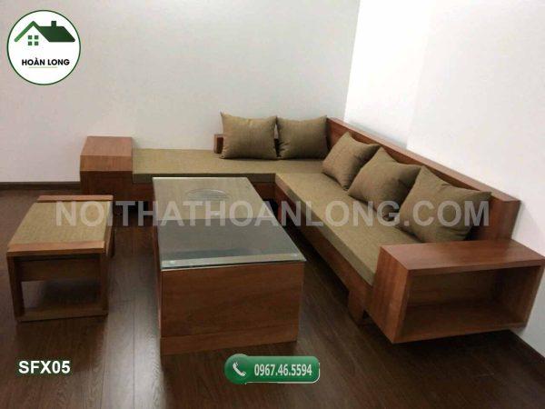Bộ bàn ghế sofa gỗ xoan đào ngăn kéo vát SFX05