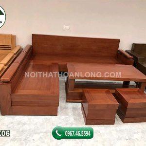 Bộ bàn ghế sofa tay trứng tựa liền gỗ xoan đào SFX06