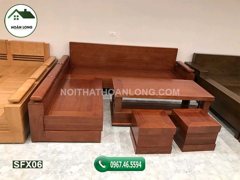 Bộ bàn ghế gỗ tự nhiên để tiếp khách SFX06