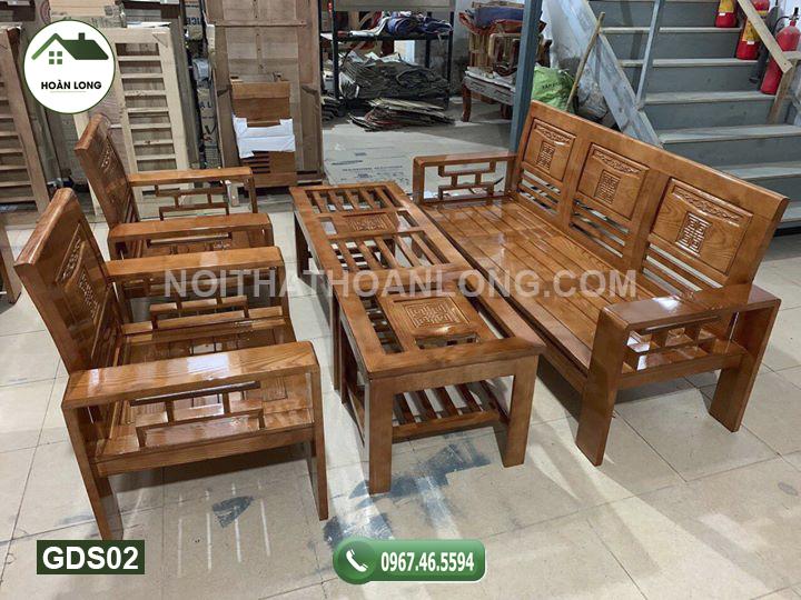 Bộ ghế Phúc Lộc Thọ gỗ sồi 200cm GDS02