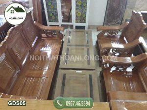 Bộ ghế đối mặt nan tay lượn gỗ sồi GDS05