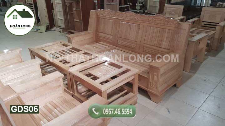 Bộ ghế đối như ý mặt nan gỗ sồi GDS06