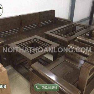 Bộ ghế đối tay trứng mặt liền gỗ sồi Nga GDS08