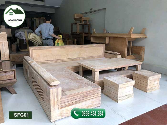 Bộ ghế sofa góc chữ L gỗ gõ SFG01