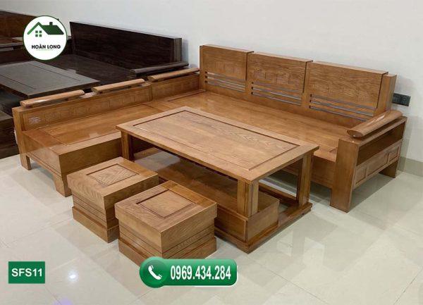 Bộ ghế sofa góc trứng nhỏ gỗ sồi Nga SFS11