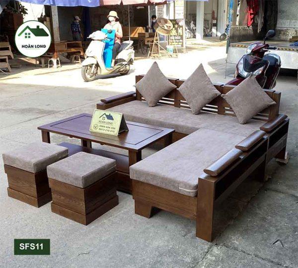 sofa góc chữ L gỗ sồi Nga SFS11