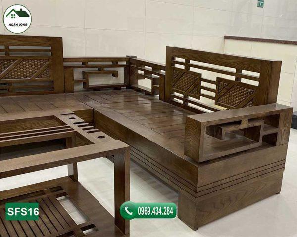 cận cảnh sofa góc Trung gỗ sồi SFS16
