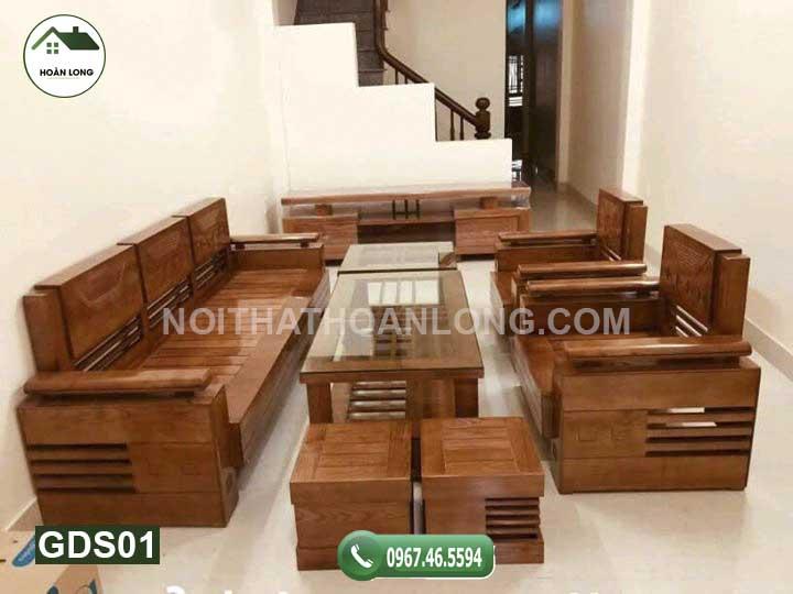 Bộ ghế đối tay chồng trứng mặt nan gỗ sồi GDS01