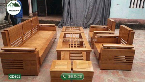 Bộ ghế đối tay trứng mặt nan gỗ sồi GDS01