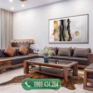 Bộ bàn ghế sofa 2 văng chân oải gỗ sồi Nga SFS14