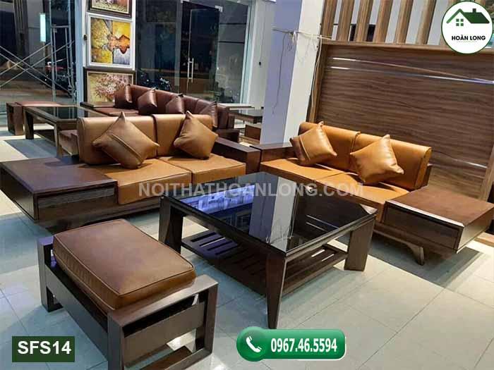 Bộ bàn ghế sofa 2 văng gỗ sồi Nga SFS14