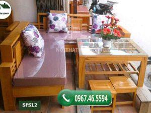 Bộ ghế sofa góc nhỏ gỗ sồi Nga SFS12