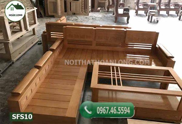 Bộ ghế sofa góc tay chồng trứng mặt nan gỗ sồi Nga SFS10