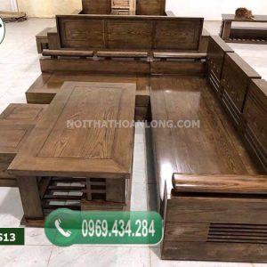 Bộ ghế sofa tay trứng mặt liền gỗ sồi Nga SFS13
