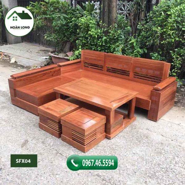 Bộ bàn ghế sofa góc trứng gỗ xoan đào SFX04