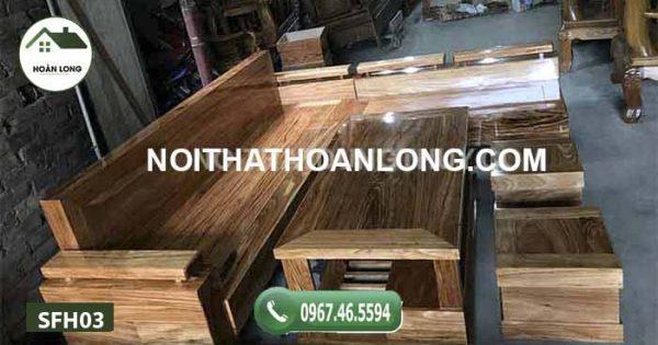 Bộ bàn ghế sofa tay trứng gỗ hương xám đá SFH03