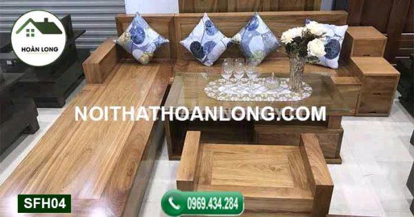 Bộ bàn ghế sofa 3 ngăn kéo gỗ hương xám SFH04