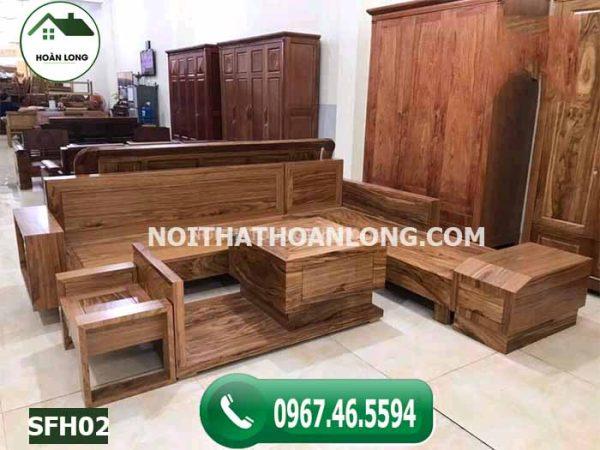Bộ ghế sofa hộp ngăn kéo ô tô gỗ hương xám đá SFH02