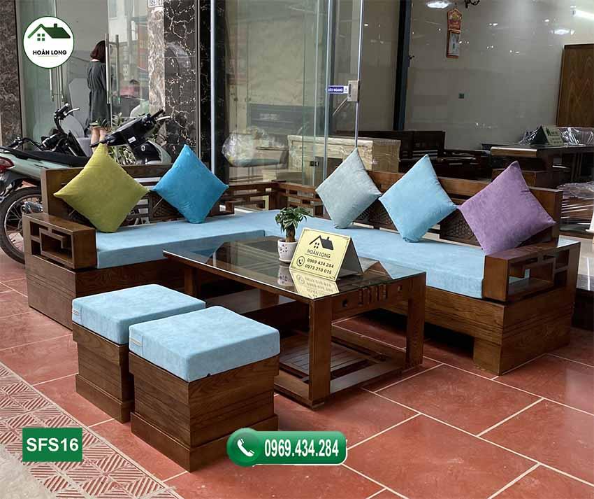 sofa góc Trung gỗ sồi SFS16