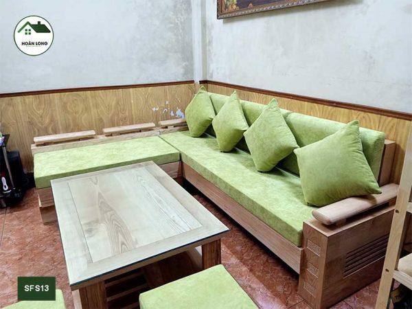 Bộ ghế sofa tay trứng to mặt liền gỗ sồi Nga SFS13