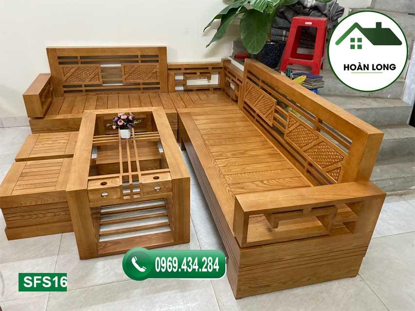 Bộ ghế sofa góc Trung gỗ sồi Nga SFS16
