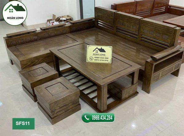 sofa góc trứng nhỏ gỗ sồi SFS11 màu óc chó