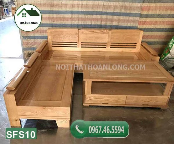 sofa góc trứng nhỏ mặt liền gỗ sồi Nga SFS10