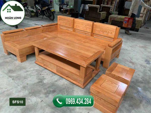 Bộ ghế sofa góc tay trứng nhỏ mặt liền gỗ sồi Nga SFS10