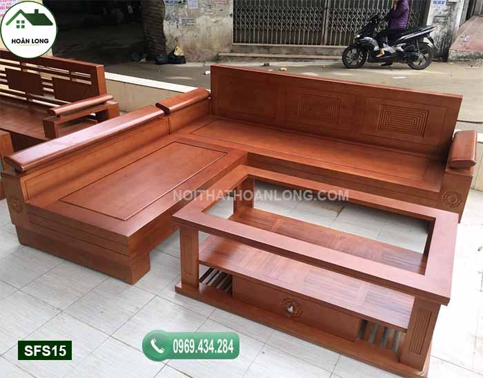 Bộ bàn ghế sofa tay nghiêng mặt liền gỗ sồi Nga SFS15