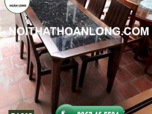 Bộ bàn ăn 6 ghế gỗ sồi Nga mặt đá nhân tạo BAS05