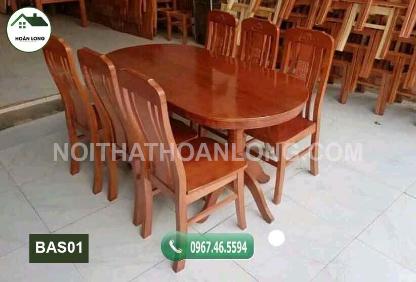 Bộ bàn ăn 6 ghế hình bầu dục gỗ sồi Nga BAS01