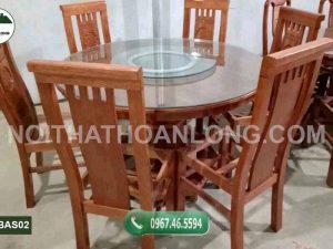 Bộ bàn ăn 6 ghế hình tròn gỗ sồi Nga BAS02