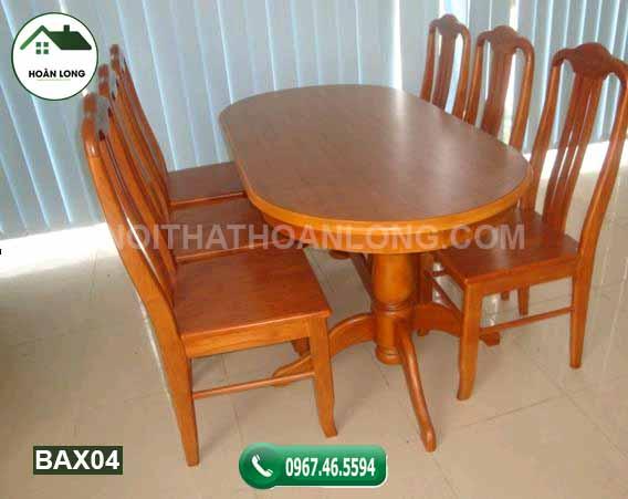 Bộ bàn ăn hình bầu dục 6 ghế gỗ xoan đào BAX04