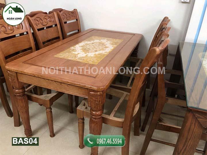 Bộ bàn ăn hình chữ nhật mặt liền in hoa văn 6 ghế gỗ sồi BAS04
