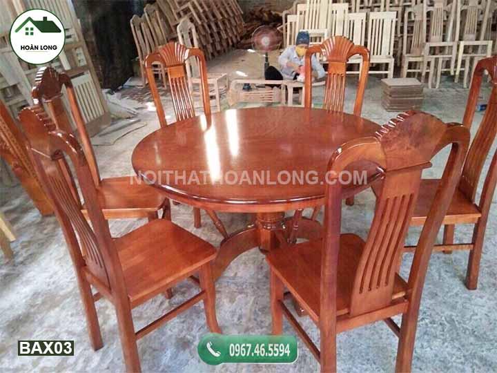 Bộ bàn ăn hình tròn 6 ghế gỗ xoan đào BAX03
