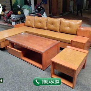 Bộ ghế sofa 3 ngăn kéo gỗ gõ đỏ SFG03