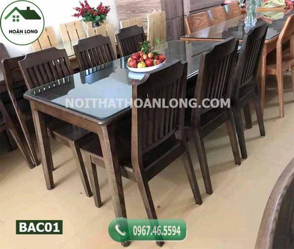 Bàn ăn hình chữ nhật 6 ghế gỗ công nghiệp BAC01